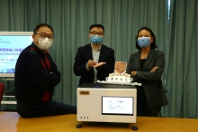 CUHK has recently developed a fully automated, low cost and rapid microrobotic diagnostic system with comparable sensitivity and specificity to clinical detection methods. The research team is now entering clinical trials, with the goal of testing in hospitals next year. From left: Prof. Kam Fai WONG, Professor, Department of Systems Engineering & Engineering Management; Professor Li ZHANG, Associate Professor, Department of Mechanical and Automation Engineering; Professor Margaret IP, Professor, Department of Microbiology.
