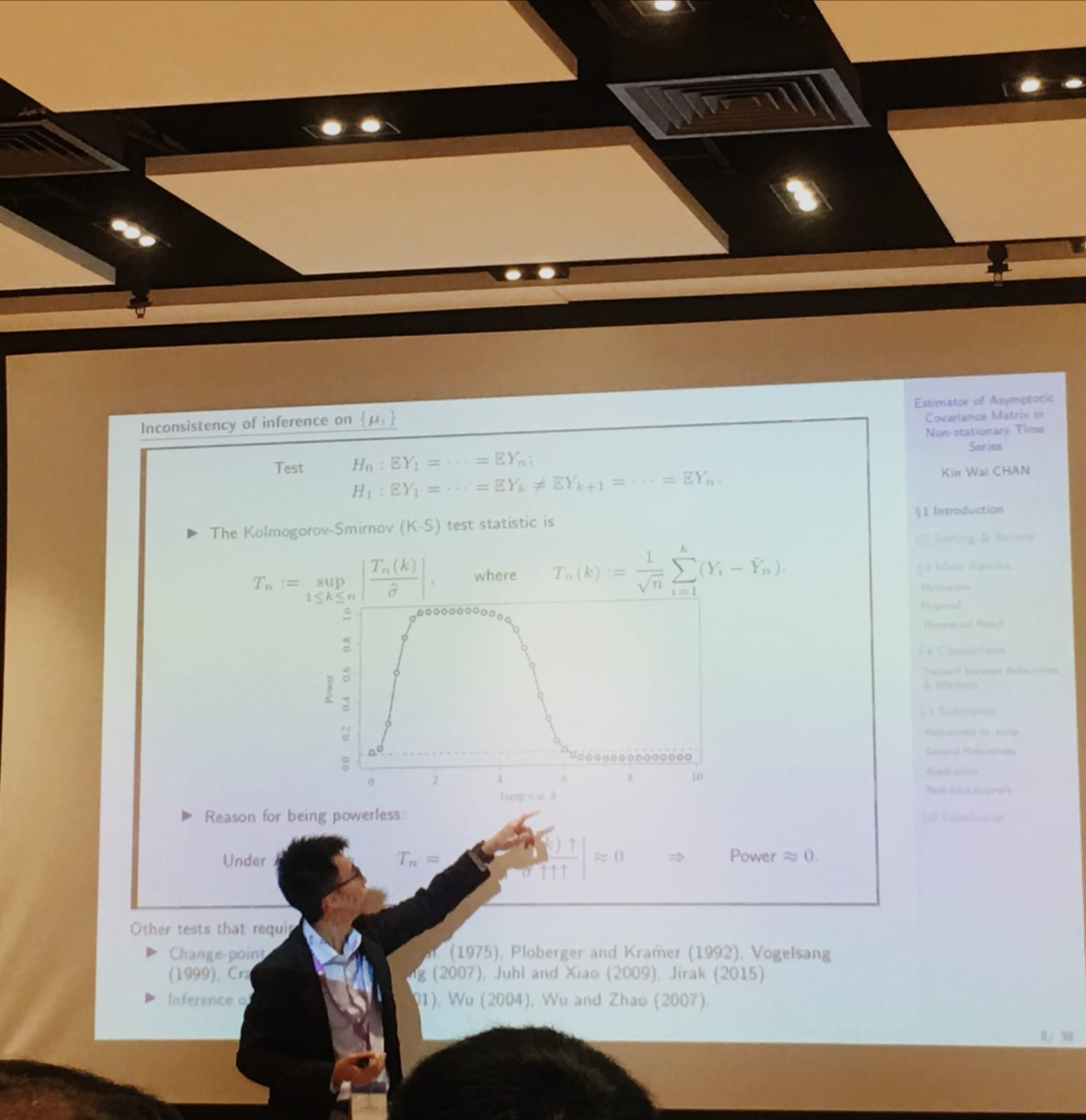 Professor Chan presents his research work at an academic conference.