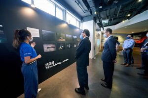 Professor Rocky S Tuan, Vice-Chancellor and President of CUHK (second from left), and Mr Eric S P Ng, Vice-President (Administration) and University Secretary of CUHK (third from left), visit the Decade of Change exhibition at the Jockey Club Museum of Climate Change.