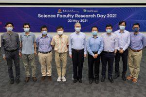 (From Left) Prof. Sen Yang, Prof. Yilin Wu, Prof. Ronald Lok Ming Lui, Prof. Liwen Jiang, Dean Chunshan Song, Prof. Jiang Xia, Prof. To Ngai, Prof. Man Nin Chan and Prof. Kin Fai Ho