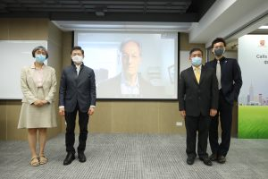 Professor Sir Michael MARMOT, Co-director of CUHK Institute of Health Equity and Director of UCL Institute of Health Equity (Middle) joins the press conference via video conferencing platform.