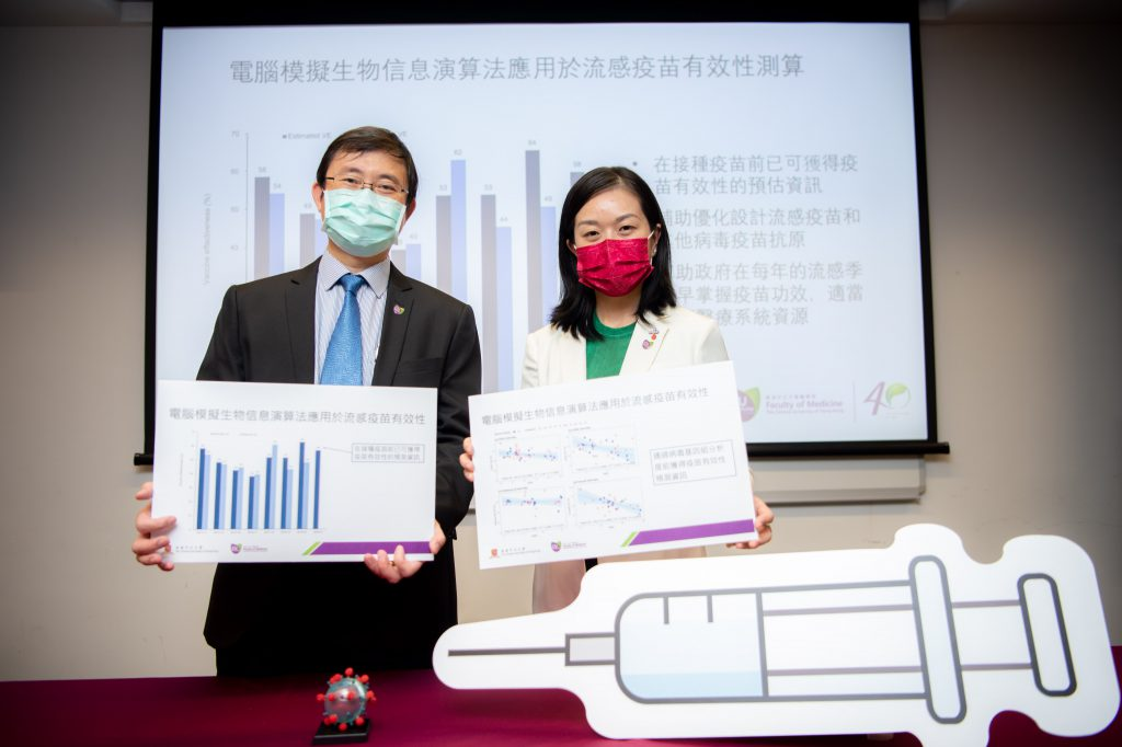 A research team led by Professor Maggie WANG (right) and Professor Benny ZEE, both from The Jockey Club School of Public Health and Primary Care at CU Medicine, has developed <em>in silico</em> bioinformatics algorithms to predict vaccine effectiveness before mass vaccination.