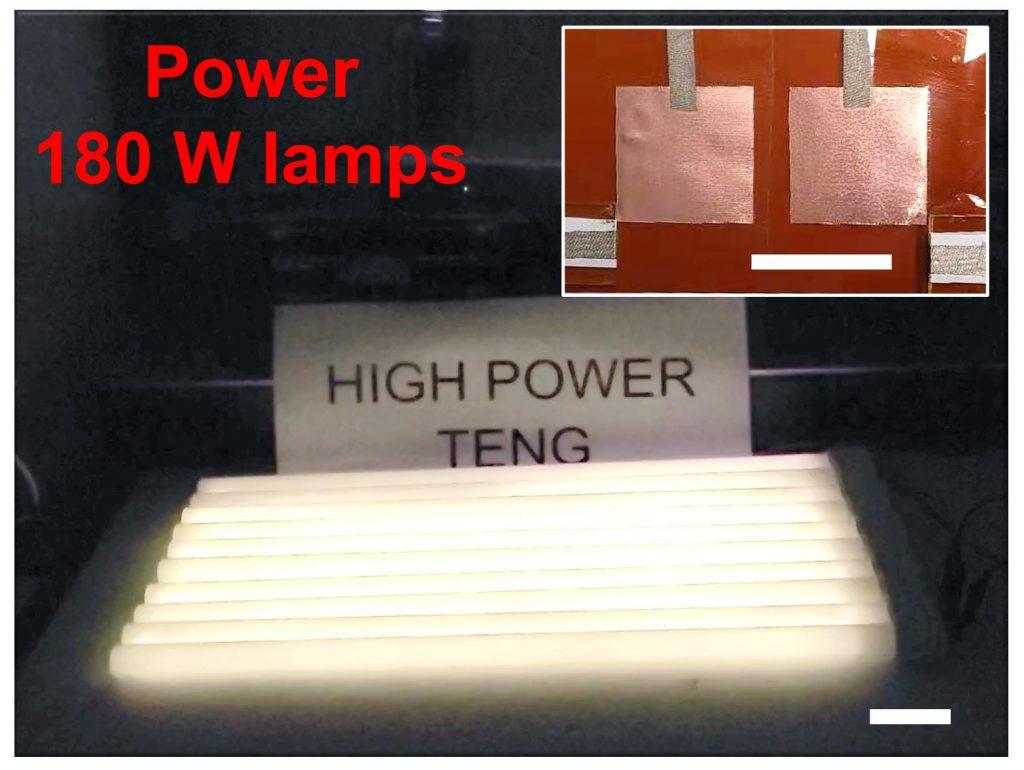 OCT-TENG能夠為功率達180W的電燈提供足夠電力。