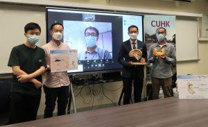 (右起)彭少泓博士、陳浩然教授,以及亨廷頓舞蹈症病患者家屬Thomas(透過視象會議參與)、Ken和阿東。