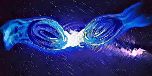 模擬兩顆玻色子星碰撞時產生的重力波 圖片來源:Nicolás Sanchis-Gual & Rocío García-Souto