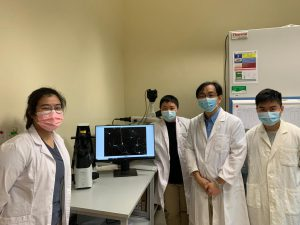 The research team is led by Professor Kim Hei-Man Chow (second from left) and Professor Kin Ming Kwan (second from right), with student members Miss Jacquelye Sun (first from left) and Michael Lau (first from right).