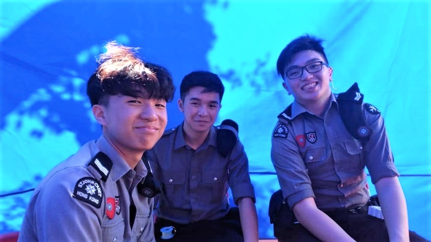 Galax Chen (middle) and his St. John Cadet teammates.