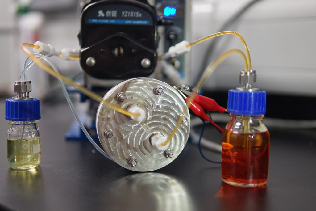 The prototype of demonstrated polysulfide-iodide redox flow batteries with CRIS membrane.